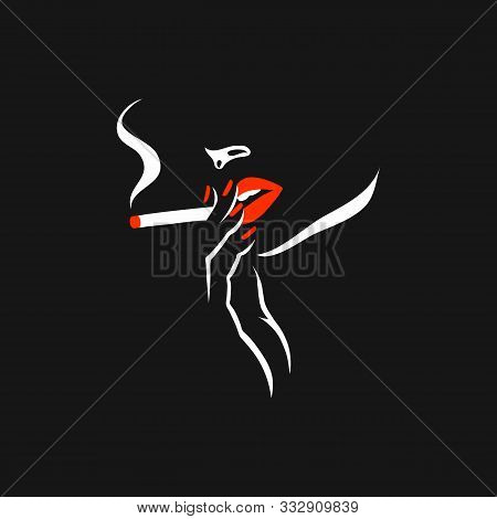Smoking Girl. Vector Illustration Of A Young Woman Silhouette, Retro Cover Design. Woman With Cigare