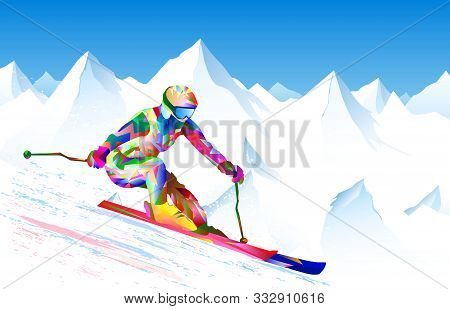 Athlete Skier On A Background Of Sky And Snowy Peaks. The Athlete Is Active In Skiing, Performs Down