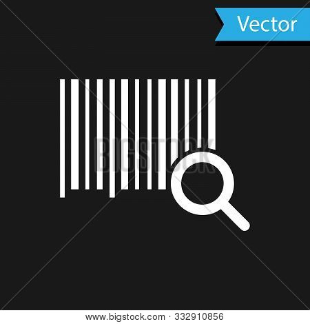 White Search Barcode Icon Isolated On Black Background. Magnifying Glass Searching Barcode. Barcode