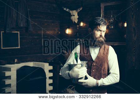 Brutal Barman. Barman With Beard. Pub Retro Vintage Interior. Hipster Barman Concept. Alcohol Addict