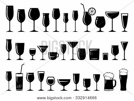 Black Glossy Silhouettes Set Of Glasses For Wine, Cocktail, Beer, Liquor, Sherry, Brandy, Margarita