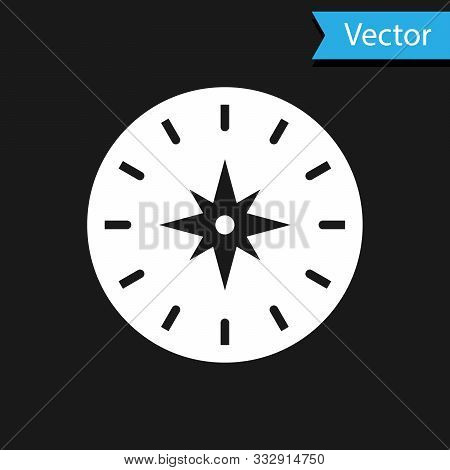 White Compass Icon Isolated On Black Background. Windrose Navigation Symbol. Wind Rose Sign. Vector