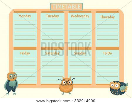 The Schedule For A Week, A Glider On Days Of The Week, The Schedule For The Child With Characters Of