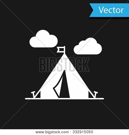 White Tourist Tent With Flag Icon Isolated On Black Background. Camping Symbol. Vector Illustration