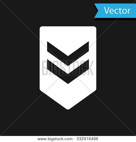 White Chevron Icon Isolated On Black Background. Military Badge Sign. Vector Illustration