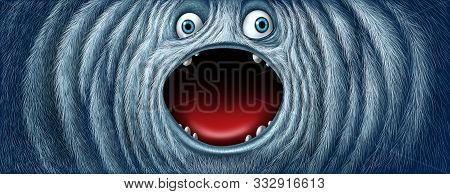 Yeti Snow Monster Face As A Fury Bigfoot Sasquatch Or Big Foot Abominable Snowman Winter Creature Wi
