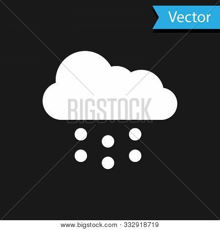 White Cloud With Snow Icon Isolated On Black Background. Cloud With Snowflakes. Single Weather Icon.