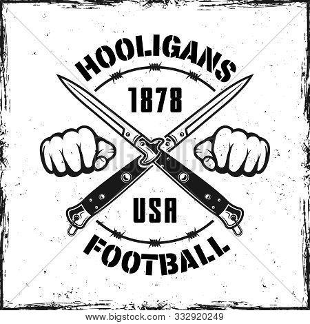 Football Hooligans Vintage Emblem With Two Crossed Knives Vector Illustration