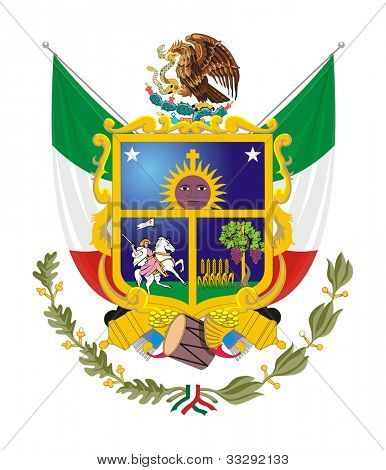Coat of arms of Mexican state of Queretaro; isolated on white background. poster