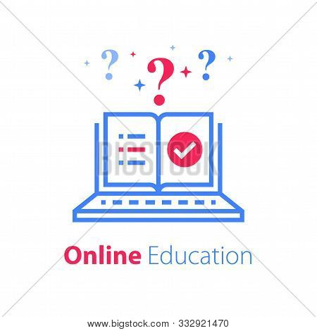Online Exam, Pass Test, Checklist On Monitor, Check Knowledge, Complete Internet Course, Web Vote, Q