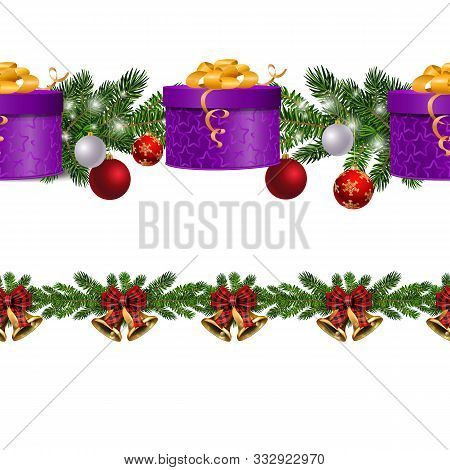 Christmas Decorations Seamless Border Set With Fir Tree And Decorative Elements And Gift Boxes. Vect