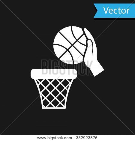White Hand With Basketball Ball And Basket Icon Isolated On Black Background. Ball In Basketball Hoo