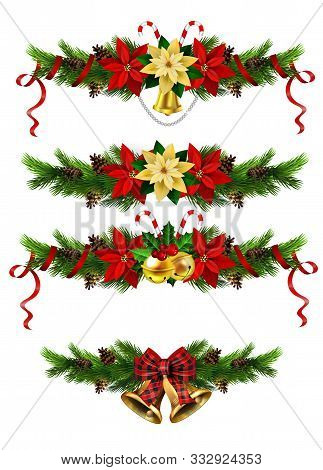 Christmas Decorations Set With Fir Tree Golden Jingle Bells And Decorative Elements. Vector Illustra