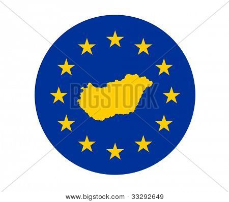 Map of Hungary on European Union flag with yellow stars.