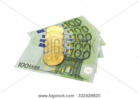 Exchange Of Bitcoin With Of 100 Euros. The Course Of Digital Cryptocurrency And European Currency. B