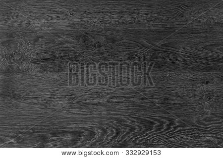 Black Wood Background. The Texture Of Natural Wood Is Dark Color, Flooring. The Design Board Is Empt