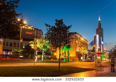 Night Seafront Promenade In European Resort Town. Evening Illuminations Light In Seaside Park In Bat