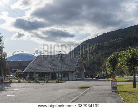Valldal, Norway, September 7, 2019: View Of Village Valldal, Administrative Center Of Norddal Munici