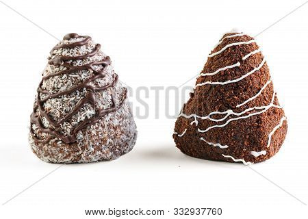 Two Chocolate Brownies. One Is Poured With White Chocolate And Sprinkled With Cocoa, The Second Is P