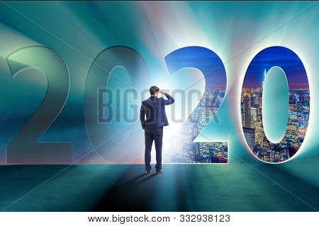 Businessman and concept of new year 2020