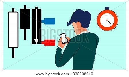 Vector Illustration Of Stock Market Participants. Trader Is Using A Forex / Stock Trading Applicatio