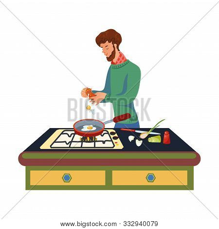 A Bearded Man In A Green Sweater Is Cooking Scrambled Eggs On The Pan. Vector Illustration In Flat C