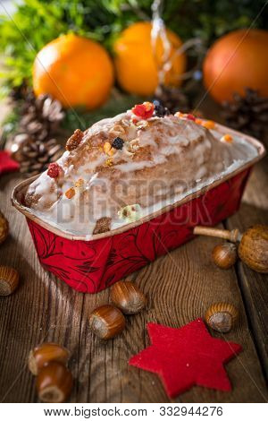Traditional Christmas Cake With Candied Fruit, Raisins And Nuts.