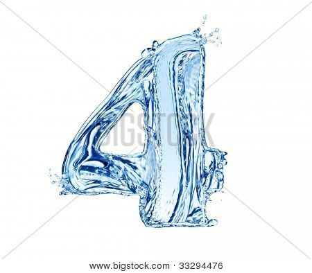 Water number made of splashes, isolated on white background