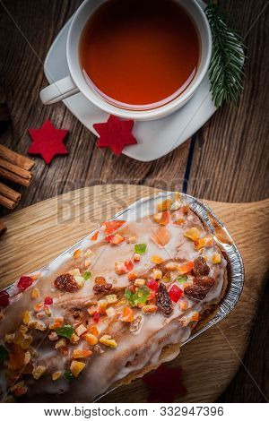 Christmas Homemade Fruitcake On The Wodden Background. Selective Focus.