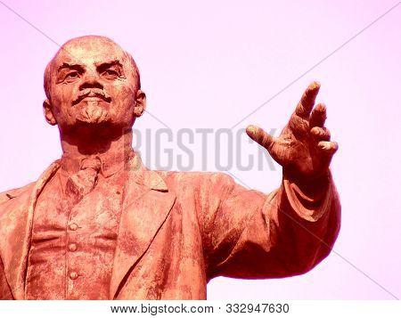 Lenin, Minsk, Belarus - 22.03.2018: Vladimir Lenin  Statue Stand Closeup Black Comunism Revolution D