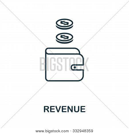 Revenue Icon Outline Style. Thin Line Creative Revenue Icon For Logo, Graphic Design And More
