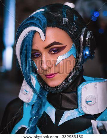 Kyiv, Ukraine - September 22, 2019. Comic Con Ukraine Festival. Overwatch Sombra. Cosplayers In Cost