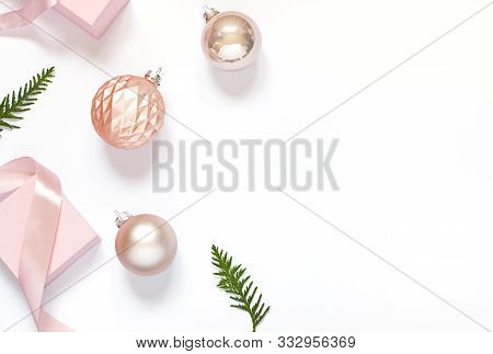 Christmas Or New Year Concept Frame With Winter Holiday Decoration. Greeting Card Top View. Copy Spa