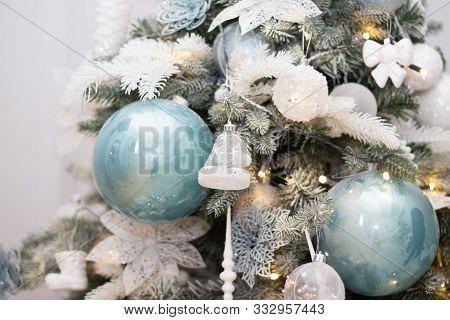 Christmas Tree Decoration. Christmas Toys On The Christmas Tree. Background Toys On The Christmas Tr