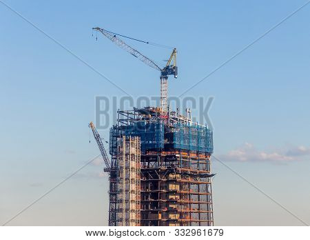New York, Usa - May 17, 2019: Skyscrapper Construction In New York City Usa