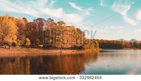 Tirana, Albania. November 2017: Artificial Lake And Grand Park Autumn Scape