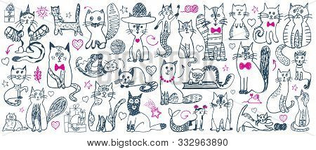 Cat Doodle Set. Cute Sketch Animal . Cartoon Funny Cats Collection. Doodle Outline Kittens With Cute