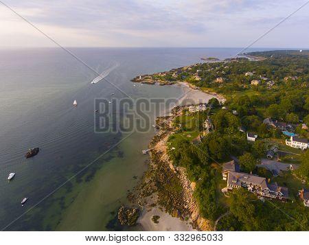 Annisquam Harbor Lighthouse Aerial View, Gloucester, Cape Ann, Massachusetts, Usa. This Historic Lig