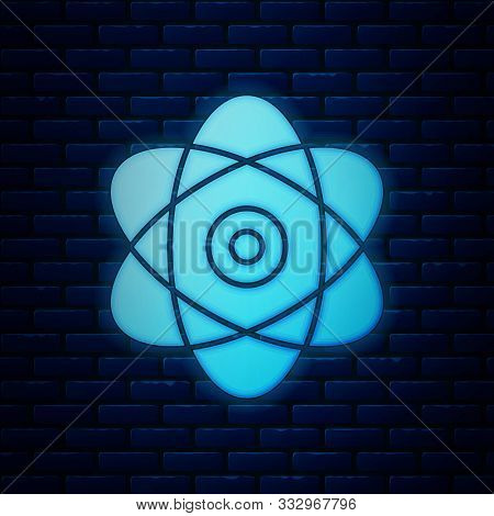 Glowing Neon Atom Icon Isolated On Brick Wall Background. Symbol Of Science, Education, Nuclear Phys