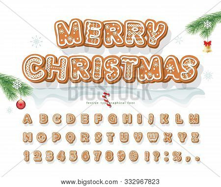 Christmas Gingerbread Cookie Font. Bisquit Traditional Decorative Alphabet. Hand Drawn Cartoon Color