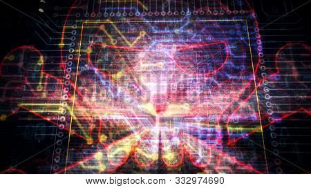 Cyber Crime With Skull Symbol Futuristic Hologram 3d Rendering Illustration. Concept Of Darknet, Int