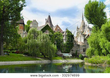 Vajdahunyad Castle With Lake In City Park, Budapest, Hungary
