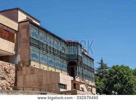 Stained glass windows on the museum of art nouveau and art deco in Salamanca Spain poster