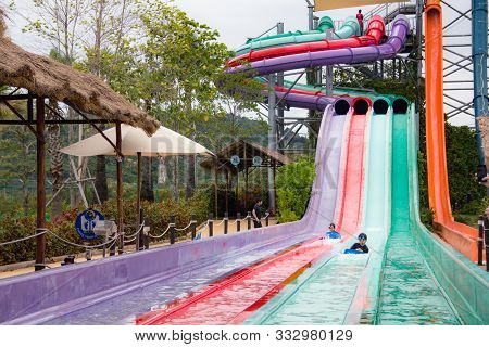 Pattaya, Thailand, August, 3, 2019, Ramayana Waterpark Sliders With Small Pool