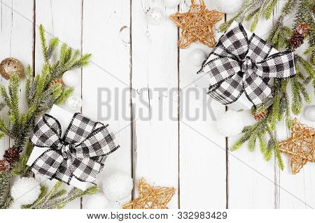 Christmas Double Corner Border With Branches, Ornaments And Black And White Checked Buffalo Plaid Gi