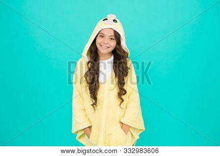 Kid With Long Hair Wear Plush Pajamas. Adorable Pajamas. Little Girl Small Child Wearing Cute Pajama