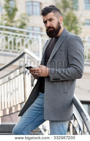 Sms Messaging Business. Bearded Man Texting Sms Outdoor. Businessman Send Sms Using Smartphone. Sms