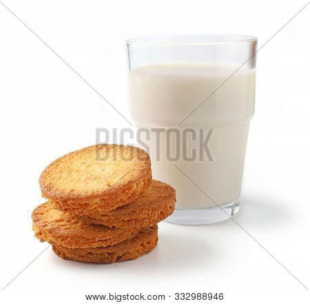Butter Cookies And Glass Of Milk Isolated On White Background, Selective Focus
