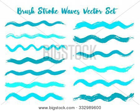 Hipster Brush Stroke Waves Vector Set. Hand Drawn Cyan Blue Brushstrokes, Ink Splashes, Watercolor S