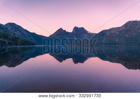 Picturesque Nature Background With Cradle Mountain And Lake At Sunrise With Colorful Sky And Water R